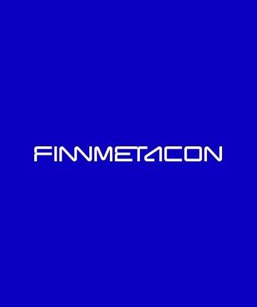 Finn-Metacon logo sinisellä taustalla